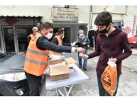 Mamak'ta cuma namazı öncesi maske ve seccade dağıtıldı