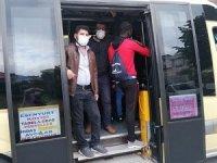 14 kişilik minibüste 30 kişilik sosyal mesafesiz yolculuk