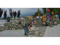 Edremit'in sembolü Sarıkız'a havuz yapılması çalışmaları başladı