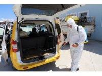 Erzincan'da ticari taksiler dezenfekte edildi