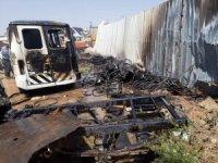 Karaman'da hurdalıkta çıkan yangında 3 araç zarar gördü
