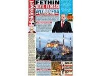 Konya'da yayın yapan gazete tam sayfasını 'Ayasofya'ya ayırdı