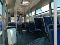 Şehiriçi minibüsler dezenfekte edildi
