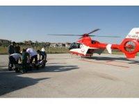 Kalp krizi geçiren tarım işçisi helikopter ambulansla hastaneye sevk edildi