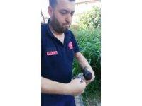 112 personelinden uçamayan güvercine yardım eli