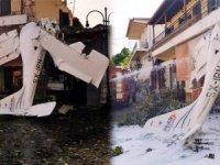Uçak evlerin arasına düştü!