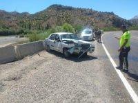 Beton bariyerlere çarpan otomobil sürücüsü yaralandı
