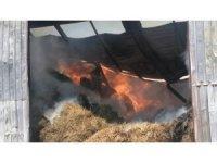 Yüzlerce ton hayvan yeminin bulunduğu depo alev alev yandı