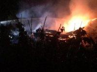 Köyde önce bahçeler tahrip edildi, sonra odunluk ateşe verildi