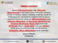 Safranbolu'da köyün 2 mahallesinde karantina uygulaması başlatıldı