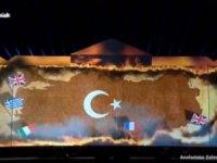 Anadolu haritası üzerindeki Türk Bayrağı'nın yanma görüntüsü tepki çekti.