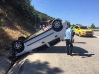 Otomobil takla attı,1 yaralı