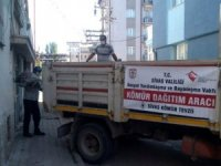 Yardım kömürlerini internet üzerinden satışa çıkaran kişiler yakalanarak kömürlere el konuldu.