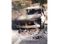 Elazığ'da cip yanarak kül oldu