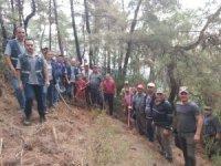 Köylüler seferber oldu, ormanda çıkan yangın kısa sürede söndürüldü
