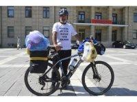 Yetimler için bisikletiyle bin kilometre yol yaptı