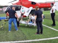 Bisikletten düşen bebeğin yardımına ambulans helikopter yetişti