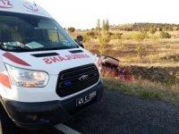 Manisa'da badem yüklü kamyonet devrildi: 2 yaralı