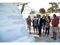 Mermer bloklar antik kentte yeniden hayat buluyor