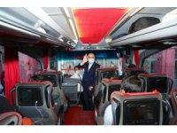 Mardin şehirlerarası otobüs terminalinde korona virüs denetimi