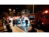 Aydın'da bir araç seyir halinde alev aldı