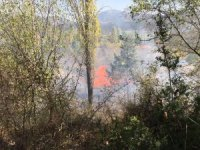 Çiftçi anız yakmak isterken, 10 dönüm arazi yandı