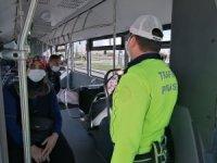 Aksaray'da otobüslerde korona denetimi