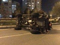 Araç takla attı, sürücüsü yara almadan kurtuldu