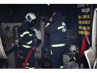Sobadan düşen alevli karton dükkanı yaktı