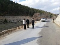 Köy yollarına beton asfalt çalışmaları