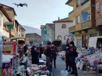 Jandarma ekiplerinden drone ile maske denetimi