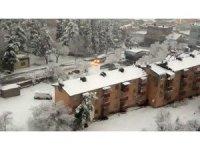 Gaziantepliler güne kar ile uyandı