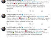 Ukrayna Devlet Başkanı Zelenskiy Cumhurbaşkanı Erdoğan'ın doğum gününü kutladı