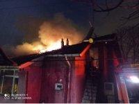 Tek katlı binanın çatısında çıkan yangın geceyi aydınlattı