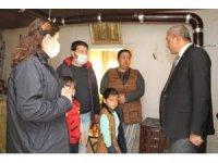 Başkan Kaplan'dan evi yanan aileye yardım eli