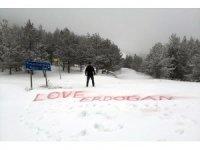 2 bin metreye 'Love Erdoğan' yazdı