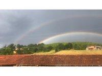 Çanakkale'de çifte gökkuşağı manzarası