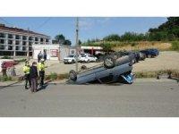 Freni boşalan otomobil takla attı: 1 yaralı