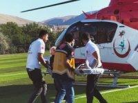 Kalp krizi geçiren yaşlı adamın imdadına hava ambulansı yetişti