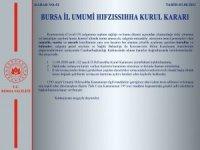 Bursa Valiliği'nden İl Hıfzıssıhha Kurulu açıklaması