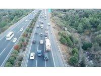 Trafik kurallarını ihlal edenler drone ile tespit edildi