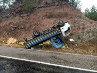 Kontrolden çıkan kamyonet ters döndü: 2 yaralı