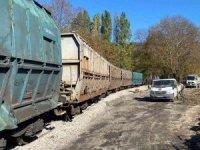 Kömür yüklü vagon raydan çıktı