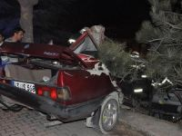 İkiye bölünen otomobilden yaralı kurtuldular