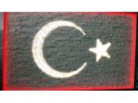 Doğal taşlardan ışıklı Türk bayrağı tablosu yaptı
