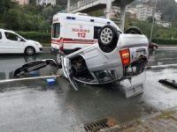 Rize'de araç takla attı: 1 yaralı