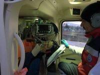 Kalp hastası kadının yardımına ambulans helikopter yetişti