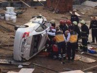 Okul inşaatına uçan otomobilin sürücüsü hayatını kaybetti