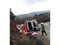 Manisa'da patates yüklü kamyon devrildi