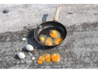 Ağrı'da asfalta kırılan yumurtalar dondu